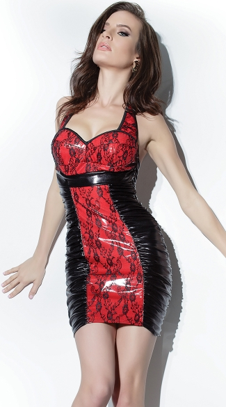 Red and Black Wet Look Dress