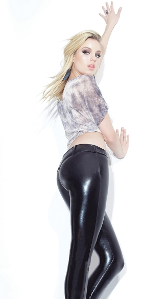 Black Wet Look Pants