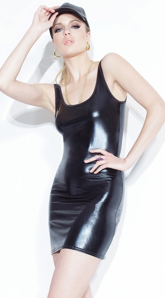 Wet Look Tank Dress, Black Shiny Dress, Fetish Dress, Vinyl Dress