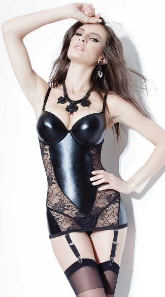 Wet Look and Lace Chemise