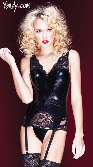 Wet Look and Lace Corset