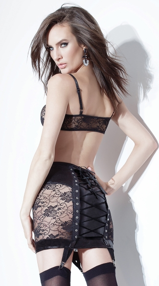 Wet Look and Lace Skirt