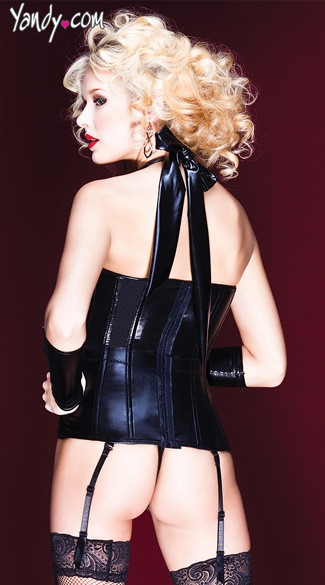 Wet Look Halter Bustier