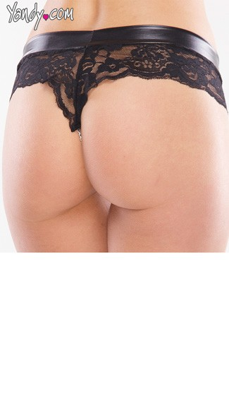 Wet Look Lace Panty with Chain