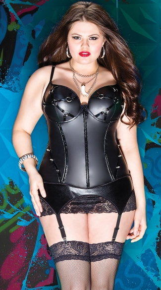 Plus Size Stretch Pleather Bustier