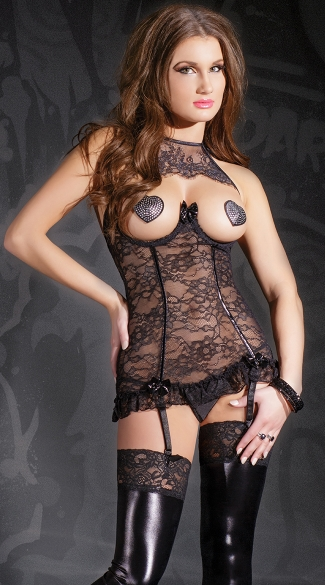 Lace Cupless Halter Chemise