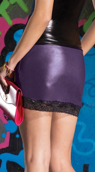 Plus Size Wet Look Mini Skirt