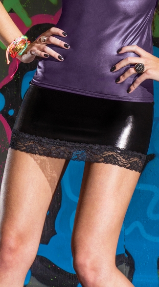 Wet Look Mini Skirt, Lace Trimmed Skirt