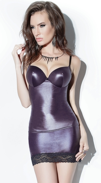 Wet Look Tank Top, Tank Top with Underwire