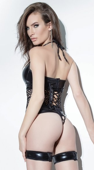 Black Wet Look Bustier Set