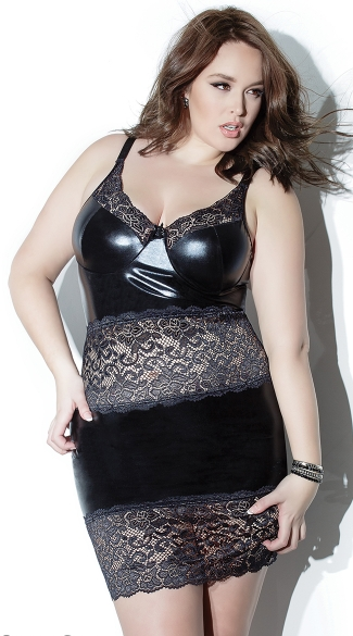 Plus Size Wet Look and Lace Chemise