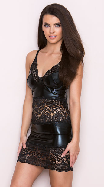 Wet Look and Lace Chemise, Black Wet Look Chemise with Lace