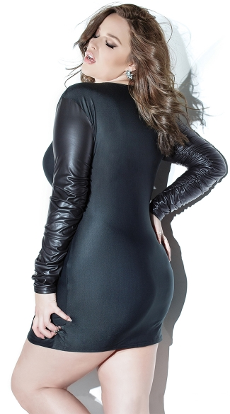 Plus Size Black Mini Dress with Wet Look Sleeves