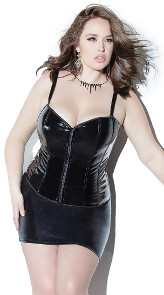 Plus Size Black Wet Look Corset, Plus Size Vinyl Corset