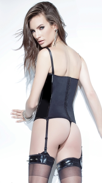 Black Wet Look and Mesh Bustier