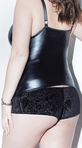 Plus Size Velvet and Wet Look Booty Shorts