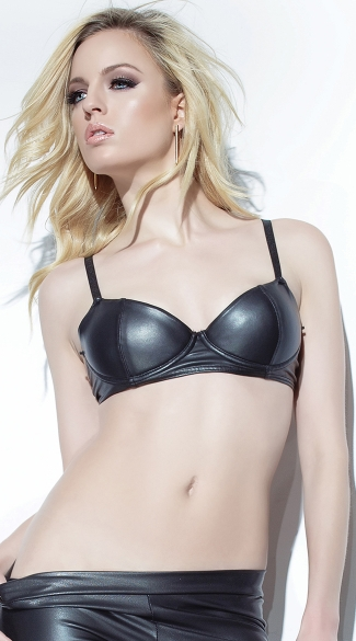 Black Wet Look Bra with Gold Chain