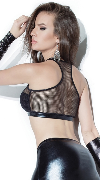 Fishnet and Wet Look Sports Bra