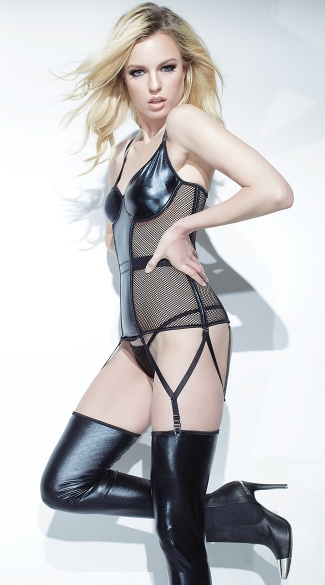 Wet Look Fishnet Bustier