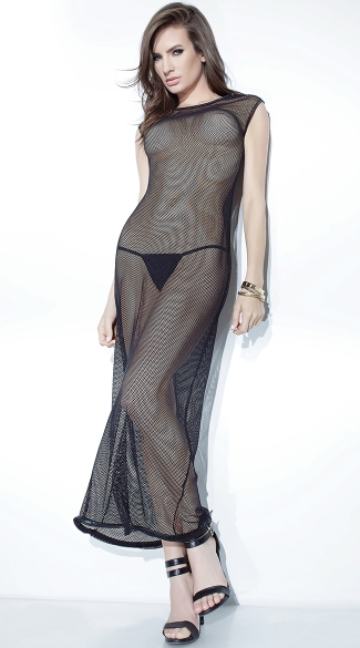 Long Fishnet Gown, Fishnet Lingerie Gown, Lingerie Gown