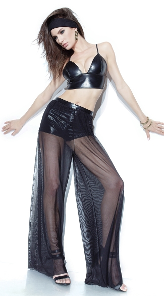 Wet Look and Mesh Crop Top and Pants, Mesh Wide Leg Pants, Mesh Pants, Wide Leg Pants, Black Wet Look Bra, Black Bra, Black Vinyl Bra