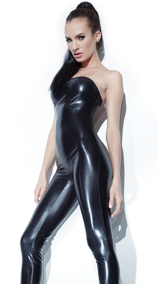 Wet Look Tube Jumpsuit