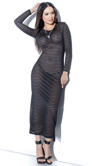 Sheer Striped Gown, Striped Black Gown, Sheer Black Gown