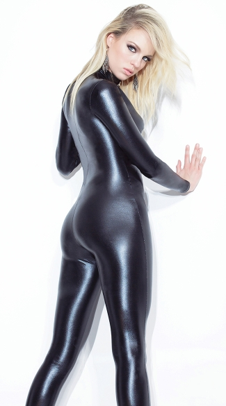 Wet Look Zip Up Catsuit