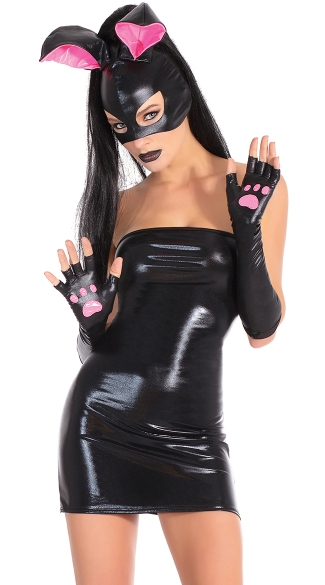 Edgy Bunny Costume, Wetlook Tube Dress, Sexy Club Wear Dresses, Bunny Mask And Gloves, Pink And Black Bunny Outfit