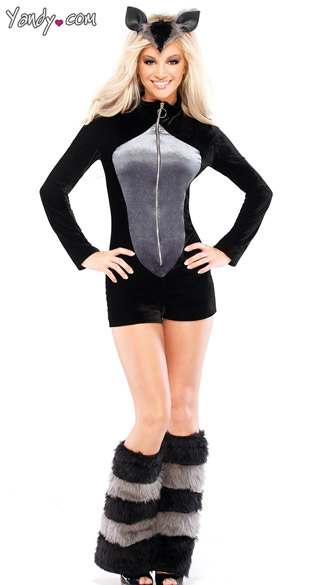 Furry Raccoon Costume, Risque Raccoon Costume, Sexy Raccoon Halloween Costume