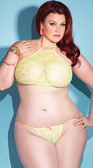 Plus Size Neon Yellow Lace G-String