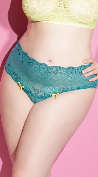 Plus Size Totally Turquoise Highwasted Panty, Plus Size Blue Lace Panty