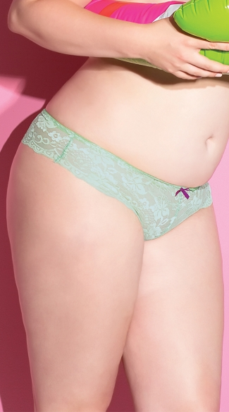 Plus Size Magical Mint Thong, Plus Size Blue Lace Thong