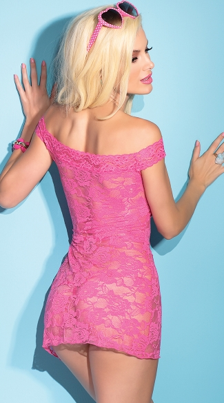 Floral Lace Off the Shoulder Chemise