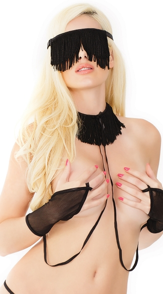 Fringe Eye Mask, Collar and Restraints