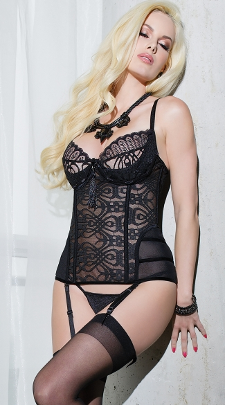 Spellbound Bustier, Patterned Mesh Bustier