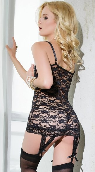 Black Floral Lace and Pearl Open Cup Chemise