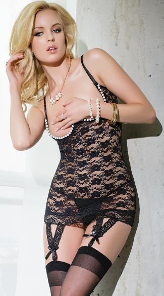 Black Floral Lace and Pearl Open Cup Chemise, Black Cupless Pearl Chemise