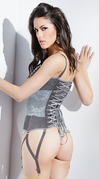 Silver and Grey Lace-Up Corset