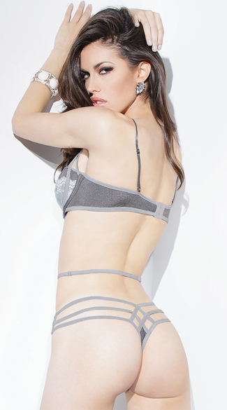 Strappy Silver and Grey Lace Teddy