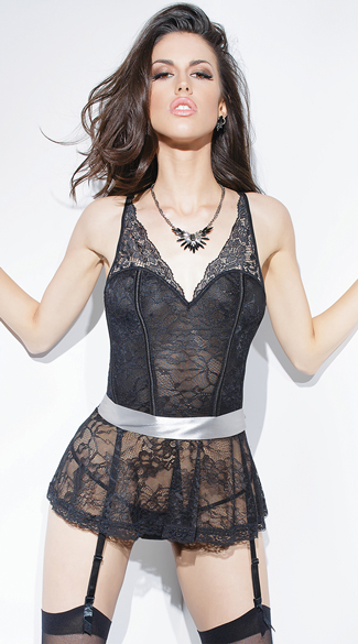 Black and Silver Skirted Lace Corset