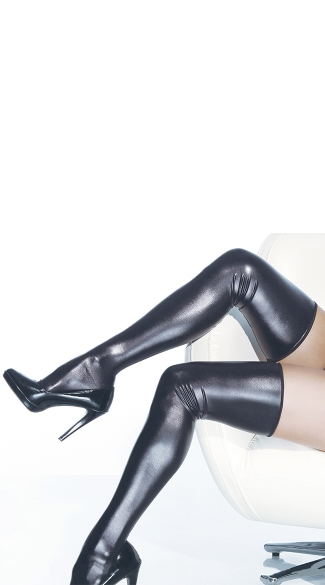 Sexy Black Metallic Thigh Highs, Wet Look Stockings, Sexy Pleather Stockings