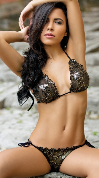Sequin Cabaret Bikini Set, Sequin Bikini Set, Sequin and Mesh Bikini Set