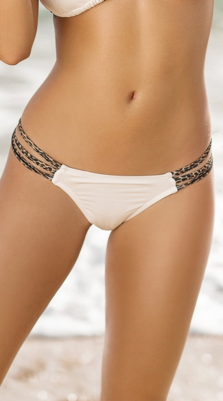 White Leopard Scrunch Back Bikini Bottom