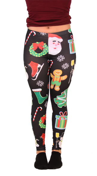 Plus Size Santa Claus Christmas Leggings, Christmas Leggings, Women\'s Christmas Leggings