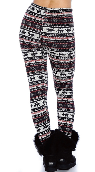 Plus Size Black and Red Nordic Pattern Leggings