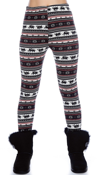 Black and Red Nordic Pattern Leggings, Winter Leggings, Leggings with Snowflakes