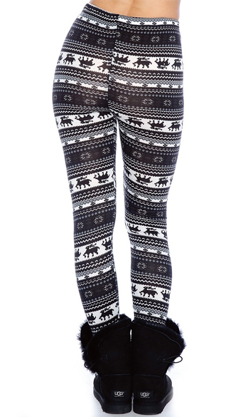 Black and Navy Nordic Pattern Leggings