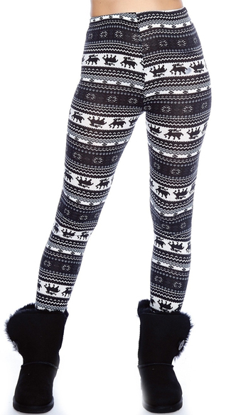 Plus Size Black and Navy Nordic Pattern Leggings