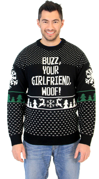 Plus Size Buzz Your Girlfriend Woof Home Alone Sweater, Ugly Christmas Sweater, Funny Christmas Sweater